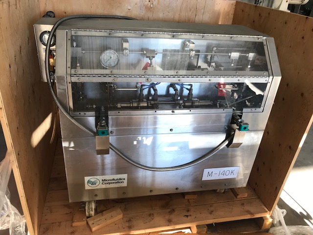 ***SOLD*** used Microfluidics Lab Microfluidizer Electric-Hydraulic Processor/Homogenizer , Model M140K. Stainless Steel. Unit designed for high shear rates, maximizing the energy per unit fluid volume resulting in uniform submicron partical and droplet sizes. Pressure range 800 to 40,000 PSI (544 to 2720 Bar), flow rate range up to approximately 500 Ml/Min, feed temp range -15 Degrees F to 165 Degrees F (-25 Degrees C to 75 Degrees C), hold up volume 23.1 Ml, sample size 1 Liter to continuous. Designed for inline cleaning. Includes a hydraulic motor, on board heat exchanger and inlet reservoir. Mounted on casters.